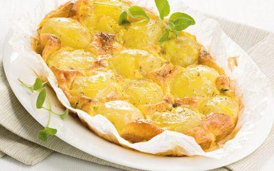 Tortino di patate, mozzarella e parmigiano